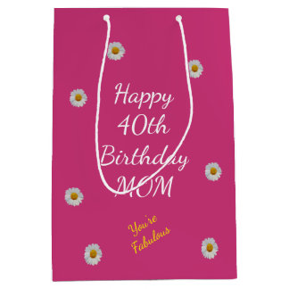 Happy 40th Birthday Mom Medium Gift Bag