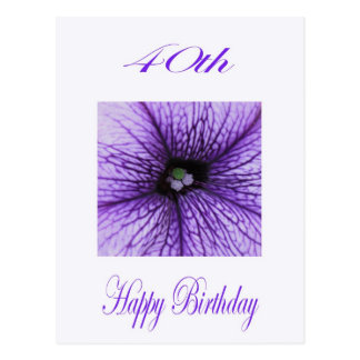 Happy 40th Birthday purple Blossom Postcard