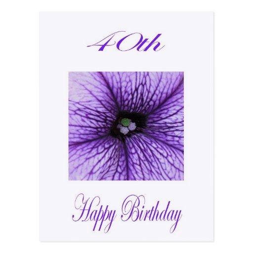 Happy 40th Birthday purple Blossom Postcard