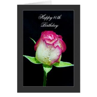Happy 40th Birthday - single rose Card
