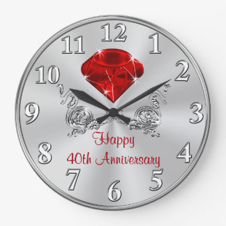 Happy 40th Wedding Anniversary Gifts CLOCK