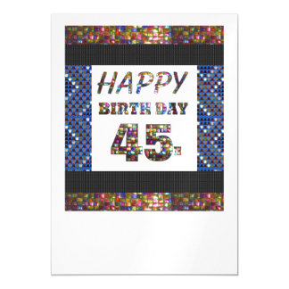 Happy 45th Birthday Template DIY add TEXT QUOTE 45 Magnetic Invitations
