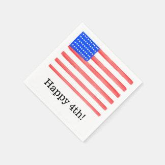 Happy 4th American Flag Napkins Disposable Napkin
