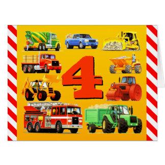 Happy 4th Birthday Construction Trucks Big Greeting Card