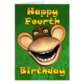 Happy 4th Birthday Monkey Banana Greeting Card