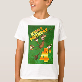 Happy 4th Birthday Monkey Banana T-Shirt