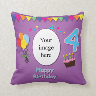 Happy 4th Birthday Pillow with Your Photo