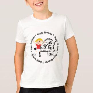 Happy 4th Birthday Round Soccer Goal T-Shirt