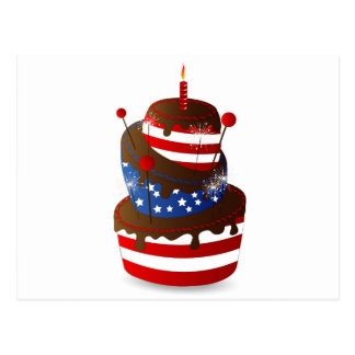 Happy 4th celebration cake postcard