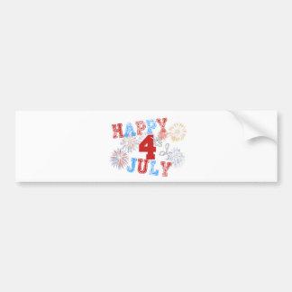 Happy 4th Faded Bumper Sticker