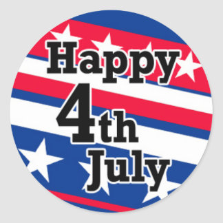 Happy 4th July on Patriotic Stars and Stripes Round Sticker