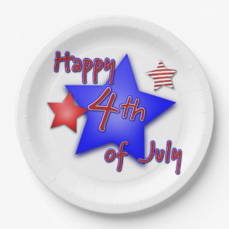 Happy 4th of July 9 Inch Paper Plate
