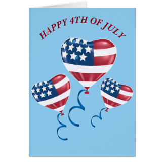 Happy 4th of July American flag balloons Greeting Card