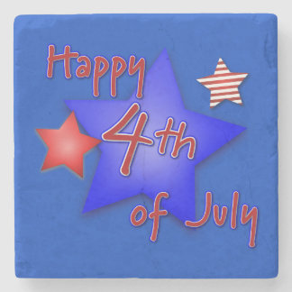 Happy 4th of July Blue Square Marble Stone Coaster