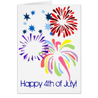 Happy 4th of July  fireworks blank card