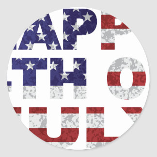 Happy 4th of July Flag Text Outline Txture Illustr Classic Round Sticker
