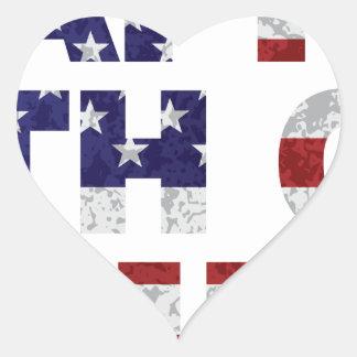 Happy 4th of July Flag Text Outline Txture Illustr Heart Sticker