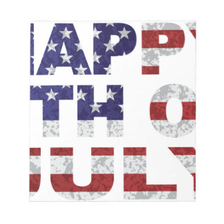 Happy 4th of July Flag Text Outline Txture Illustr Notepad
