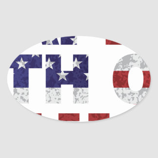 Happy 4th of July Flag Text Outline Txture Illustr Oval Sticker