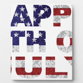 Happy 4th of July Flag Text Outline Txture Illustr Plaque