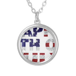 Happy 4th of July Flag Text Outline Txture Illustr Silver Plated Necklace