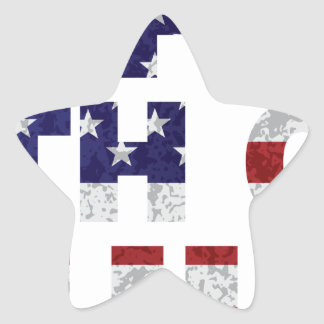 Happy 4th of July Flag Text Outline Txture Illustr Star Sticker