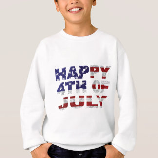 Happy 4th of July Flag Text Outline Txture Illustr Sweatshirt