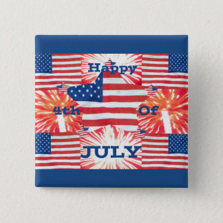 Happy 4th of July Flags 15 Cm Square Badge