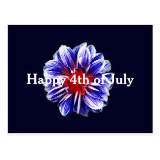 Happy 4th of July Flower Postcard