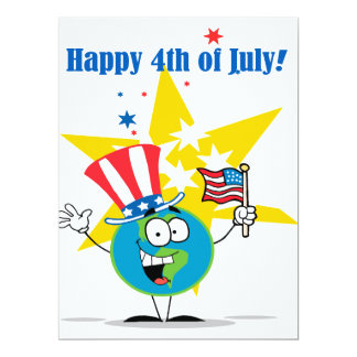 happy 4th of july globe cartoon patriotic card