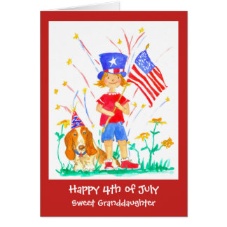 Happy 4th of July Granddaughter Custom Card