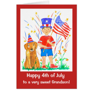 Happy 4th of July Grandson Custom Card