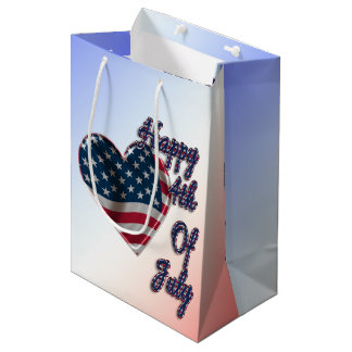 Happy 4th of July Heart - Medium Gift Bag