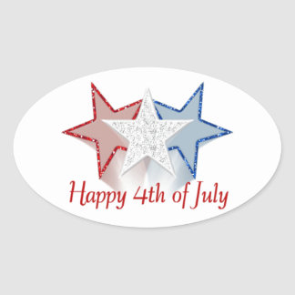 Happy 4th of July Oval Sticker