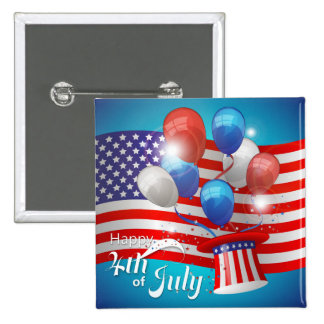 Happy 4th of July Patriotic 15 Cm Square Badge