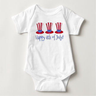 Happy 4th of July Patriotic Baby Uncle Sam Hat USA Baby Bodysuit