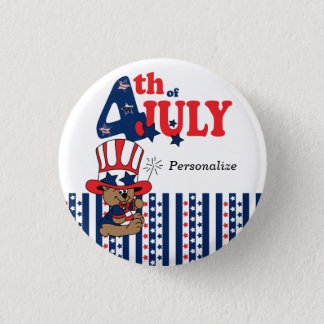 Happy 4th of July Patriotic Bear 3 Cm Round Badge