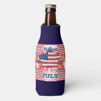 Happy 4th of July Patriotic Bottle Cooler