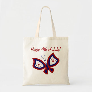 Happy 4th of July Patriotic Butterfly Tote Bag