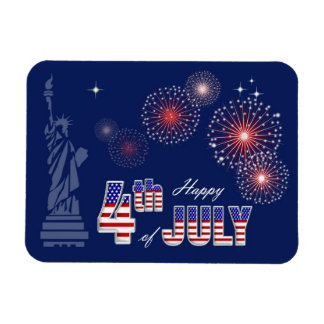 Happy 4th of July . Patriotic Design Gift Magnet