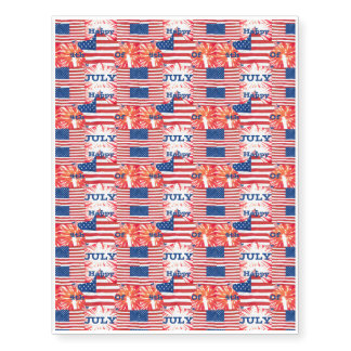 Happy 4th of July Patriotic Flags Fireworks Stars