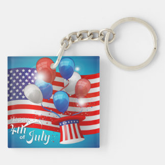 Happy 4th of July Patriotic Double-Sided Square Acrylic Key Ring