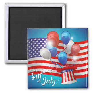 Happy 4th of July Patriotic Square Magnet