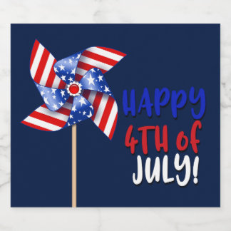 Happy 4th of July! | Patriotic Pinwheel Beer Bottle Label