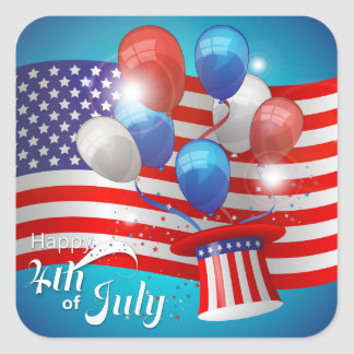 Happy 4th of July Patriotic Square Sticker