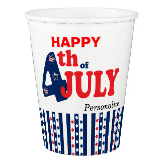 Happy 4th of July | Red, White and Blue Paper Cup