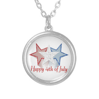 Happy 4th of July Silver Plated Necklace