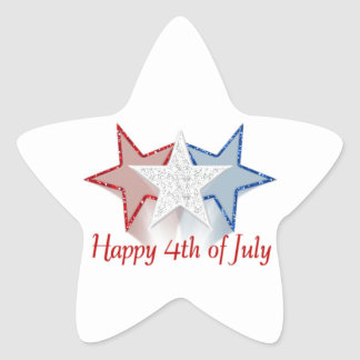 Happy 4th of July Star Sticker