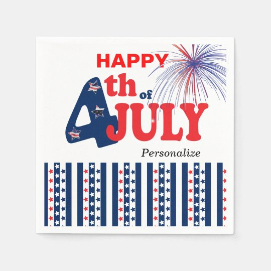 Happy 4th of July Stars and Stripes Disposable Serviette