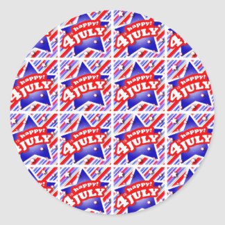 Happy 4th of July Theme Pattern Classic Round Sticker